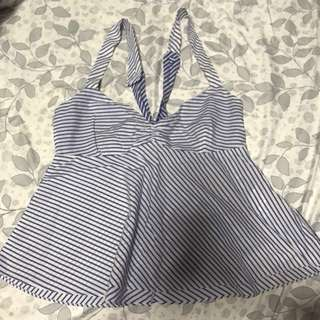 Zara White and blue stripes top