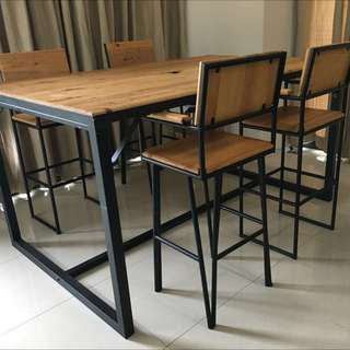 Custom US Pine Wood & Steel High Table