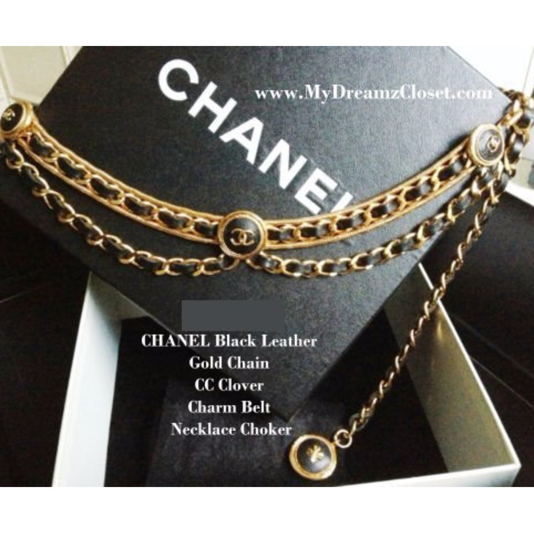 MINT 100% CHANEL Black Leather Gold Chain CC Clover Charm Belt Necklace Choker
