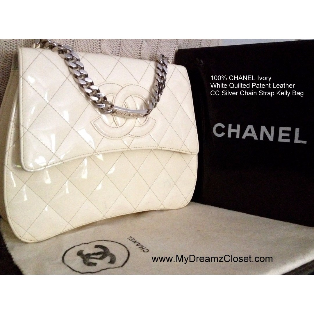100% CHANEL Ivory White Quilted Patent Leather CC Silver Chain Strap Kelly Bag