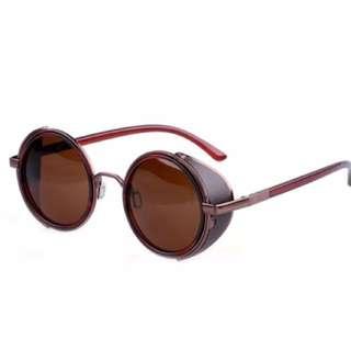 Retro Vintage Round Glasses Sunglasses Brown