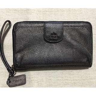 COACH Metallic Leather Phone Wallet