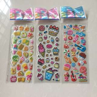 Brand New Cartoons Sweets & Cakes Bubble / 3D Stickers