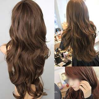 WIG - Long Curl Wavy Wig (Light Brown)
