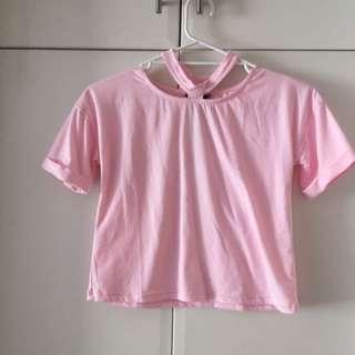 Pink chocker t shirt