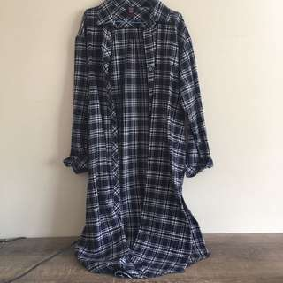 Long line cotton flannel top