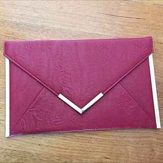 Maroon Envelope Clutch