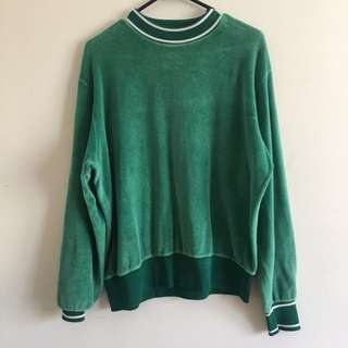 Green velvet retro top