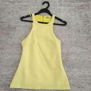 Almost Brand New Zara Trafaluc Jacquard Top in Lemon Yellow
