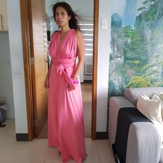 Pink Multiwrap Long Gown