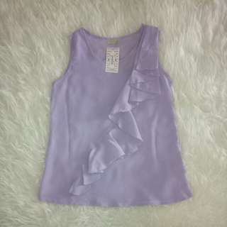 (NEW SISA STOCK) POPLIN LAVENDER FRILL TOP