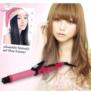 2-in-1 Hair Curler Straightener with Nano Ceramic Coated Plate! Hot Pink