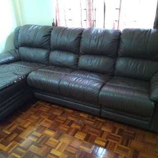 Half Leather Half PU 'L' Shapped Sofa with 1 Recliner