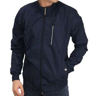 Bomber Jacket Stand Up Collar Navy