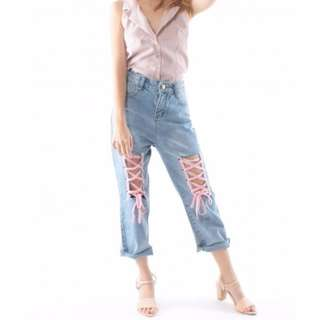 BASH CLOTHING Lace Up Jeans