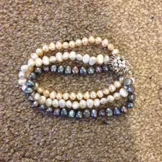 Real Pearl and Silver Bracelet