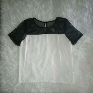 (NEVER WEAR) zalora mesh yoke woven tee