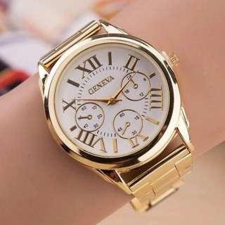 Geneva Roman Numerals Gold Steel-belt Watch