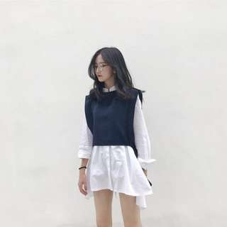 [FAST PO] Korean Ulzzang Chic Loose Long Sleeve Shirt/Blouse + Dark Blue Shawl/Vest Suit
