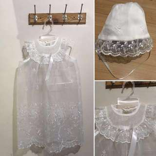 Imported baptismal dress cover and hats baby girl