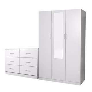 3 DOOR COMBO WARDROBE + 6 DRAWER CHEST, BLACK/WHITE