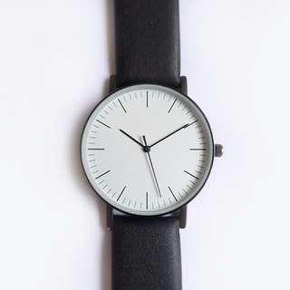 White Minimalist Black Strap Watch