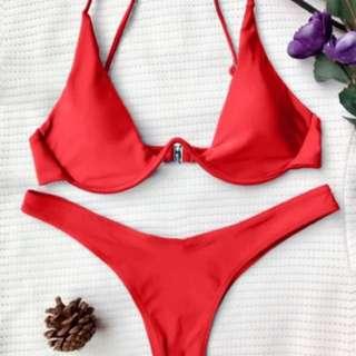 Underwire red bikini
