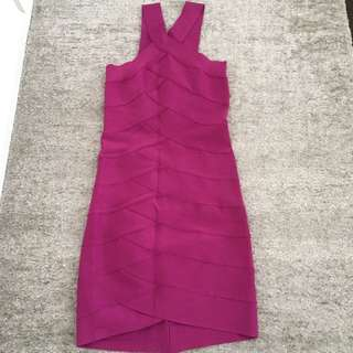 Herve Leger Fuschia Purple Pink Stretchy Dress