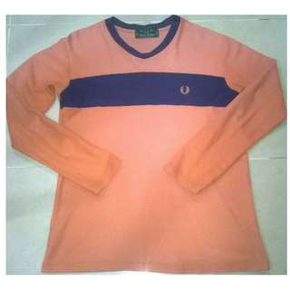 Fred Perry Collar V Neck Long Sleeve Tee