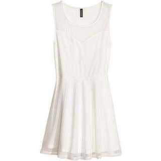 BN H&M White Mesh Skater Dress