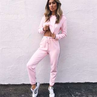 Pink crop jacket and pants