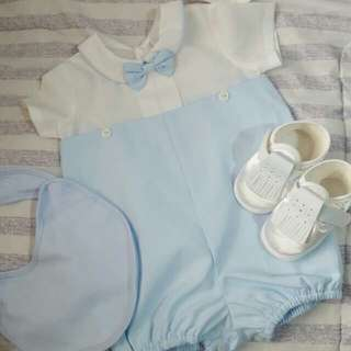 Dedication/baptismal Dress With Cap And Shoes For Baby Boy