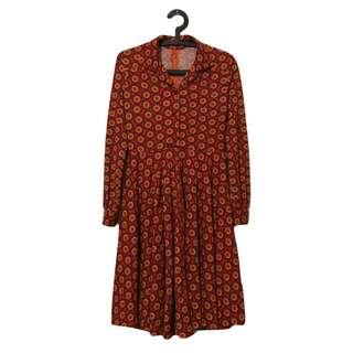 韓國製 圈圈復古洋裝 二手 復古 古著