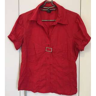 Red button up short sleeve shirt