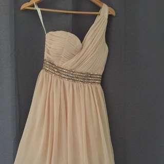 Cream and Gold One Shoulder Mini Dress