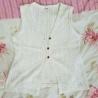 Sweater Vest Rajut Putih Import Vintage Style