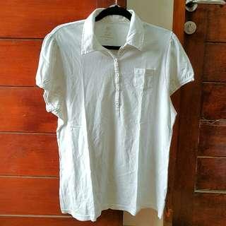 Atasan Kaos Kerah Model White Polo Shirt Putih Branded Faded Glory