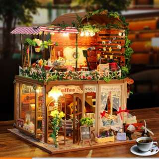 [PROMOTION] Homemade DIY Wood Dollhouse Miniature With LED Furniture Cover Coffee Shop