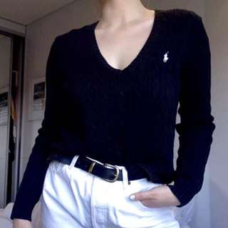 V neck polo knit