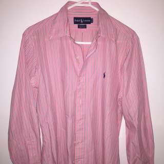VINTAGE RALPH LAUREN LAUREN BUTTON UP PINK