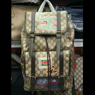 GUCCi BACKPACK with design laminated materials pure leather