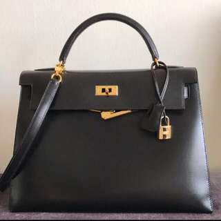 Hermes Kelly 32 Black Box Sellier Ghw C square
