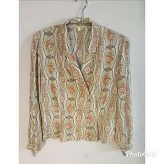 《壓箱寶》二手古著 韓國製短版長袖花外套/襯衫