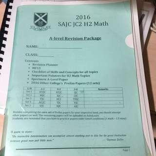 2016 H2 Math Prelim Papers