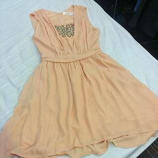 全新 So nice S號 專櫃 粉橘色 無袖 洋裝