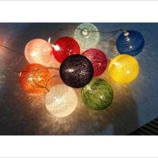 彩色手工棉球 毛線球 LED裝飾燈 燈串 聖誕燈 小夜燈 掛燈