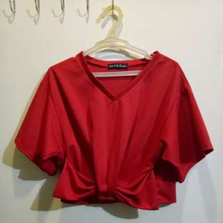 Red V neck Cropped Top