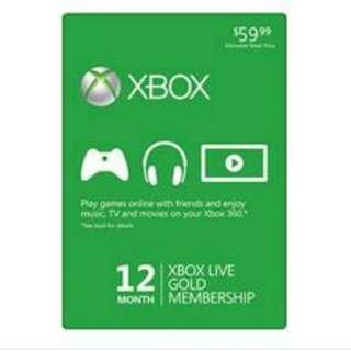 Xbox Gold 12 month membership