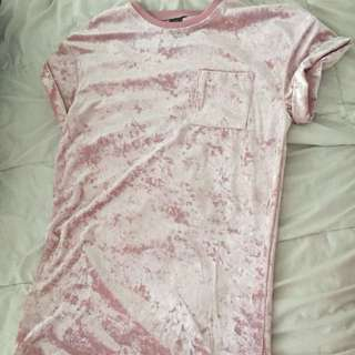 Pink Velvet Tshirt Dress 💕