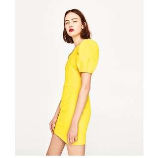 ZARA不對稱袖洋裝 黃 尺寸XS